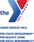 Armed Services YMCA logo; Strengthening Our Military Family
