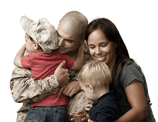 marine with wife and two young sons