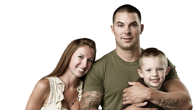 soldier with wife and son