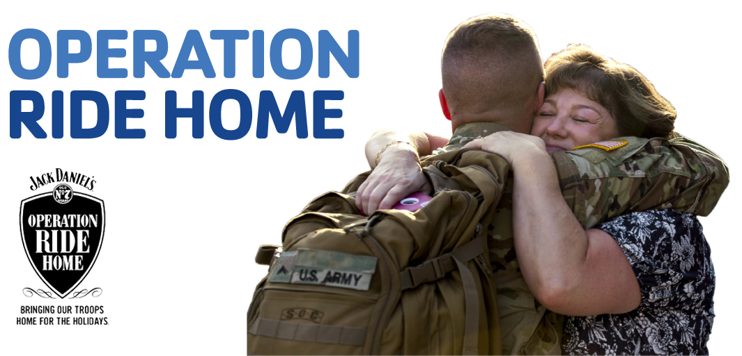 Operation Ride Home header with jack daniels logo and mom and son hugging