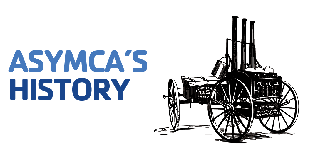 ASYMCA History header with coffee cart