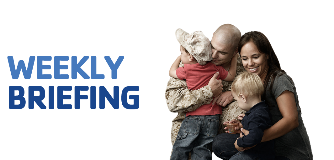 Weekly Briefing header with marine and family