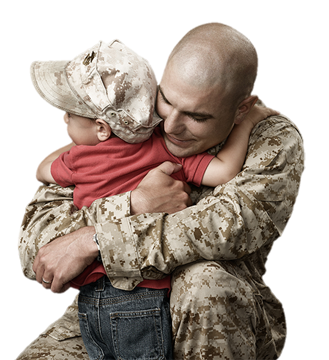 Marine hugging toddler son