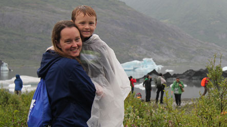 mother with son at spencer glacier