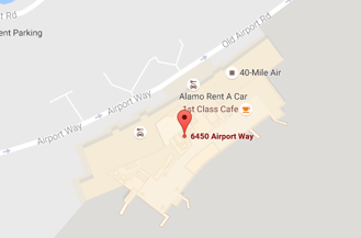 Map to Military Lounge at Fairbanks Airport