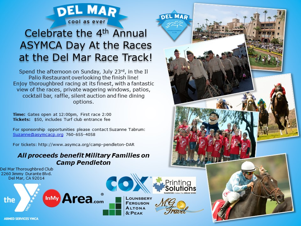 ASYMCA camp pendleton day at the races fundraiser at del mar racetrack
