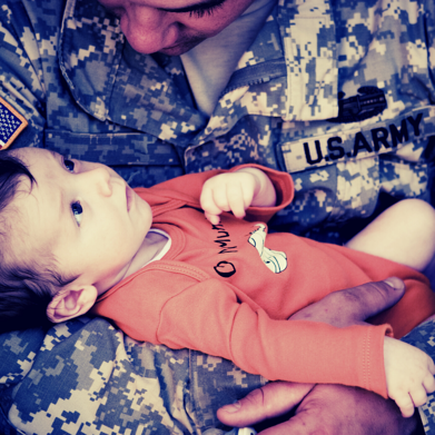 Military Father Holding Baby